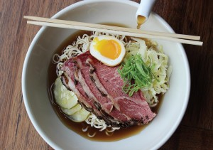"A proposed menu item for Rooster Soup Co.: ""Pastramen"" of soy-spiked double chicken broth, short rib pastrami, pickles, rye noodles, soft-cooked egg."